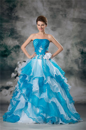 Sexy Ball Gown Strapless Sleeveless Floor Length Tiers Blue and White Organza Long Evening Gown Prom Dresses Custom Size 2 4 6 8 10 12 14 16