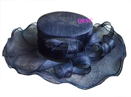 Wholesale NAVY BLUE Unique design wide brim Formal Dress Church Bridal Sinamay Hat for Kentucky Derby wedding races party Ascot