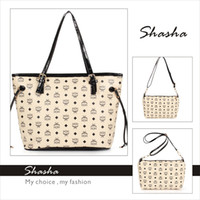 Wholesale 2014 New Collection Shopper Beige Bags MCM Totes Handbags Women Lovely mcm Large Portable Shoulder Bags With Coin Purse Low Price On Sale