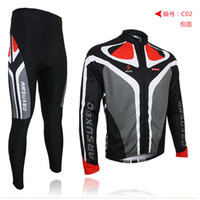Wholesale 2013 arsuxeo mens cycling bike bicycle long sleeves jersey shirts pants wear suits uniforms top D BIB PADDED C
