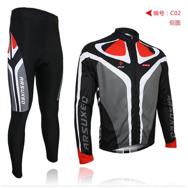 2013 mens arsuxeo le cyclisme vélo vélo maillot manches longues chemises pantalons portent des costumes uniformes top .3D BIB PADDED C