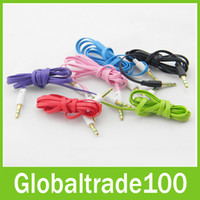 Wholesale Flat Noodle M mm Audio Cable Male to Male Aux Cables Multicolour for MP3 iPhone Free DHL