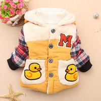 Wholesale baby down jackets Children Outerwear Winter cotton padded clothes Rubber Duck coat kids padded jacket warm clothing