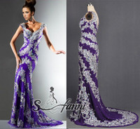 All Size Court Train Trumpet/Mermaid Special Desigh Actual Image Beaded Sequins Sleeveless Purple Chinffon Fabric Mermaide Pageant Dresses With Sweep Train