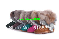 Wholesale Genuine Australia Cowhide Fox Fur Mid Calf Snow Boots100 Wool inside Classic Tassel Women Shoes Color Size