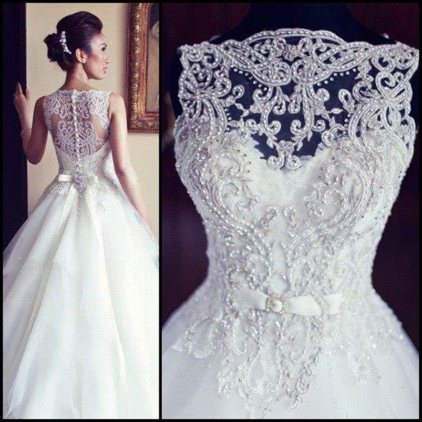 Discount 2014 Spring Honorable Sheer Lace Appliqued Bridal Gowns ...