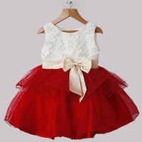 Wholesale Christmas New Arrival Girl Dresses White And Red Dresses With Petal And Beige Bows Infant Party Princess Dresses Hot Selling GD31025