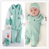 Wholesale Christmas gift RAutumn latest baby suit piece set doctor costume romper hat Professional little doctor design