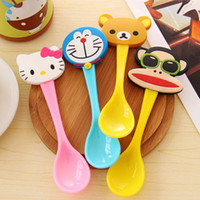 Wholesale 3 cm Lovely Cartoon Animals Spoons Color Resin Spoons Children Dinnerware SH160