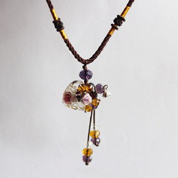 Wholesale Fashion NecklaceGlass oil bottle essential oil aromatherapy essential oil bottle necklace sweater chain necklace baroque flowers Almond Hear