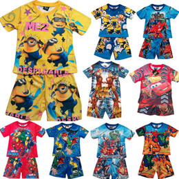 Wholesale 2015 Children s clothing set Cartoon kids suits boy s Round neck T shirt with shorts Printed pajamas sets set