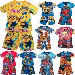 Wholesale Children s clothing set Cartoon kids suits boy s Round neck T shirt with shorts Printed pajamas sets set