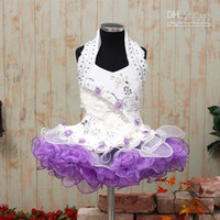 Wholesale 2013 Mini Halter New Glitz National Little Girl Pageant Cupcake Dresses Party Dress Flowers MOKO12