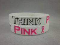 South American Unisex Gift Think Pink Wristbands for Breast Cancer Awareness of Breast Cancer, Pink Ribbon bracelet, 100pcs lot, free shipping