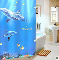 Wholesale Blue dolphin bathroom shower curtain waterproof thickening cm