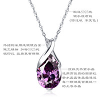 Wholesale 100 pure sterling silver platinum natural amethyst blue topaz pendant necklace wedding jewelry GSN052S