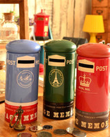 Wholesale HOT zakka mailbox tinsheet style piggy bank eiffel tower piggy bank