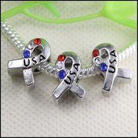 Rhinestones   50pcs Crystal Rhinestones USA Sign Ribbon Breast Cancer Awareness Hole Beads Fit European Bracelet Pendant jewelry findings