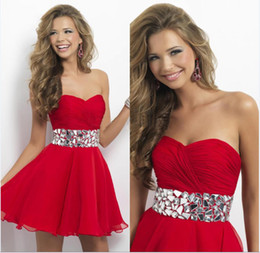 Wholesale Newest Design A Line Sweetheart Sleeveless Mini Short Red Chiffon Beads Pleated Empire Waist Sexy Homecoming Dresses Sexy Cocktail Dresses