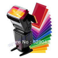 Wholesale 12pcs Flash Diffuser Lighting Gel Color card correct Pop up Filter for flashgun