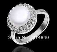 Wholesale New arrve outer surface is covered with silver inlaid Austrian crystal pearl fashion lady ring C033