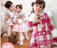 Girl Spring / Autumn Jackets Wholesale - Princess girls overcoat for winter thicken plaid red pink rose 5pcs lot 131023