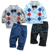 Boy Spring / Autumn 100% Cotton Autumn Baby Boy's Suits Clothes Children Long Sleeve Gentleman Bow Tie Diamond T Shirts Tops+Casual Cool Trousers 2PC Sets Kids Clothing