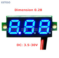 "Cheap Free shipping 1PCS New 0.28"" Super Mini Digital Blue LED Display Voltmeter DC 3.5-30V Volt Voltage Panel Meter battery monitor"