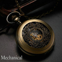 Wholesale Antique bronze automatic pendant watch necklace mens retro pocket watch keychain vintage mechanical pendant watch necklace