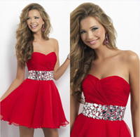 Wholesale 2014 Cocktail Dresses New arrival Sexy Girl sweetheart strapless mini chiffon crystal waist Homecoming Dresses N13