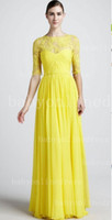 Wholesale Vestidos Formales Elegant Light Yellow Long Sleeves Chiffon Bridesmaid Dresses Ruffles Beaded Floor Length Sheer Lace Prom Gowns BO1824