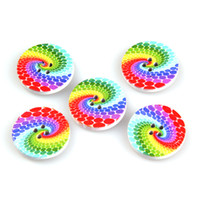 Wholesale 50g Mixed Wooden Sewing Buttons Christmas Colorful Circle Type Craft Loose Beads Scrapbooking Holes Fit Clothes ZFI4