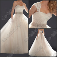 Wholesale Romantic Ivory Beading Princess High Quality Plus Size Lace Luxury Crystal Wedding Dresses Ball Gowns Tulle Wedding Gowns Dresses Sale