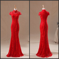 Wholesale Real Image Red Cheongsam High Collar Cap Short Sleeve Lace Floor Length Sexy Mermaid Chinese Evening Graduation Formal Dresses Cheap