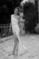 Custom Made One Shoulder White Wedding Dresses With pleat Fr...