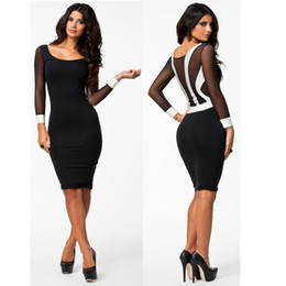 Wholesale S XXL Plus Size New Fashion Women Long Sleeve Black and White Patchwork Bodycon Dress Sexy Club Evening Party Dress
