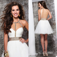 Wholesale 2014 Shinning Sweetheart A line Mini Backless Ruffles Pleat Beads Crystal Organza Cocktail Dresses