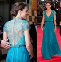 Chiffon Short Sleeve Sweep Train 2013 Celebrity Dress Kate Middleton Sheer Lace Back Charming Evening Dresses A-Line V-Neck Blue Chiffon Lace Sash Cap Sleeve Formal Dress