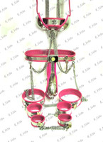Male Chastiy Belt  2013 newest BDSM suit Male T-type Chastity Belt + Collar + handcuffs +Thigh Cuffs + ankle cuffs+ butt plug + catheter tube + Bra