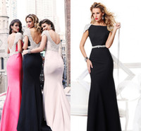 Wholesale Sexy Elegnat Mermaid Tarik Ediz Formal Evening Dresses Stain Red White Black Crystals Rhinestone Long Backless Pageant Dress Prom Gowns
