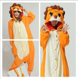 Wholesale Hot Sell Pajamas Cheap Funny Lovely Lion Cosplay Costume unisex Adult Onesie Dress Or Sleeping Home Dress
