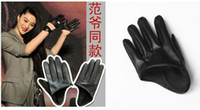 Wholesale New Fan Bingbing Same Paragraph Half Section PU leather Gloves Party Girl Dance Singer DS Hip Hop Jazz Nightclub Performance Accessories