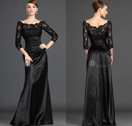 Wholesale 2015 New Arrival Mother of the Bride Dresse Long Sleeve Charming A Line Off Shoulder Black Lace Pleat Formal Dresses Hot Custom Made