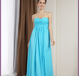 Wholesale 2013 Simple Cheap Bridesmaid Dresses Floor Length Blue Chiffon Ruffle princess Greek Style Goddess Strapless Party Dress Bridesmaid Dress