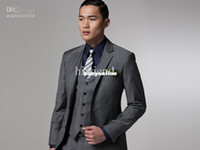 Cotton buttons wholesale - custom made new grey pieces Two button wool wedding suits groom tuxedo suit for mens A02