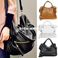 Unisex big leather hobo bags - Womens Large Big Pu Leather Tassel Tote Handbag Crossbody Shoulder Hobo Bag