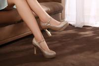 Cheap Rhinestone Wedding Shoes Best High Heel Round Toe Gold High Heels Shoes