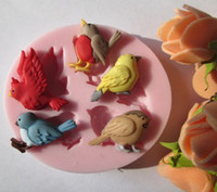Wholesale five birds fondant molds silicone mold soap candle moulds sugar craft tools chocolate mould bakeware