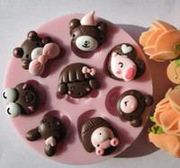 Modelling Tools animal soap molds - bear rabbit girl animal head fondant molds silicone mold soap candle moulds sugar craft tools chocolate mould bakeware