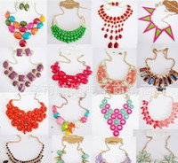 Wholesale New Exaggerated Necklace European and American Candy Colored Necklace Alloy Jewelry Necklace